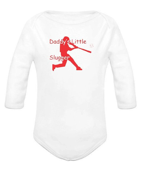 Daddy's Little Slugger Onesie Bodysuit by NettieJewels on Etsy