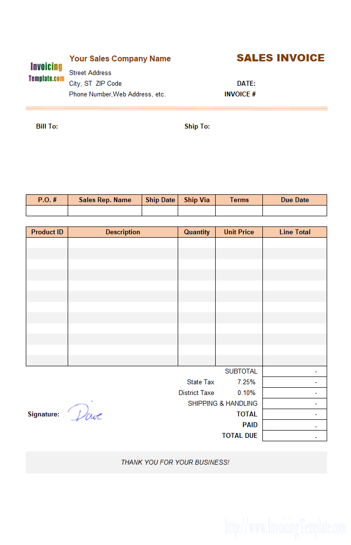 Sales Invoice Template For United States Within Usa Invoice Template 10 Professional Templates Invoice Template Invoice Template Word Professional Templates