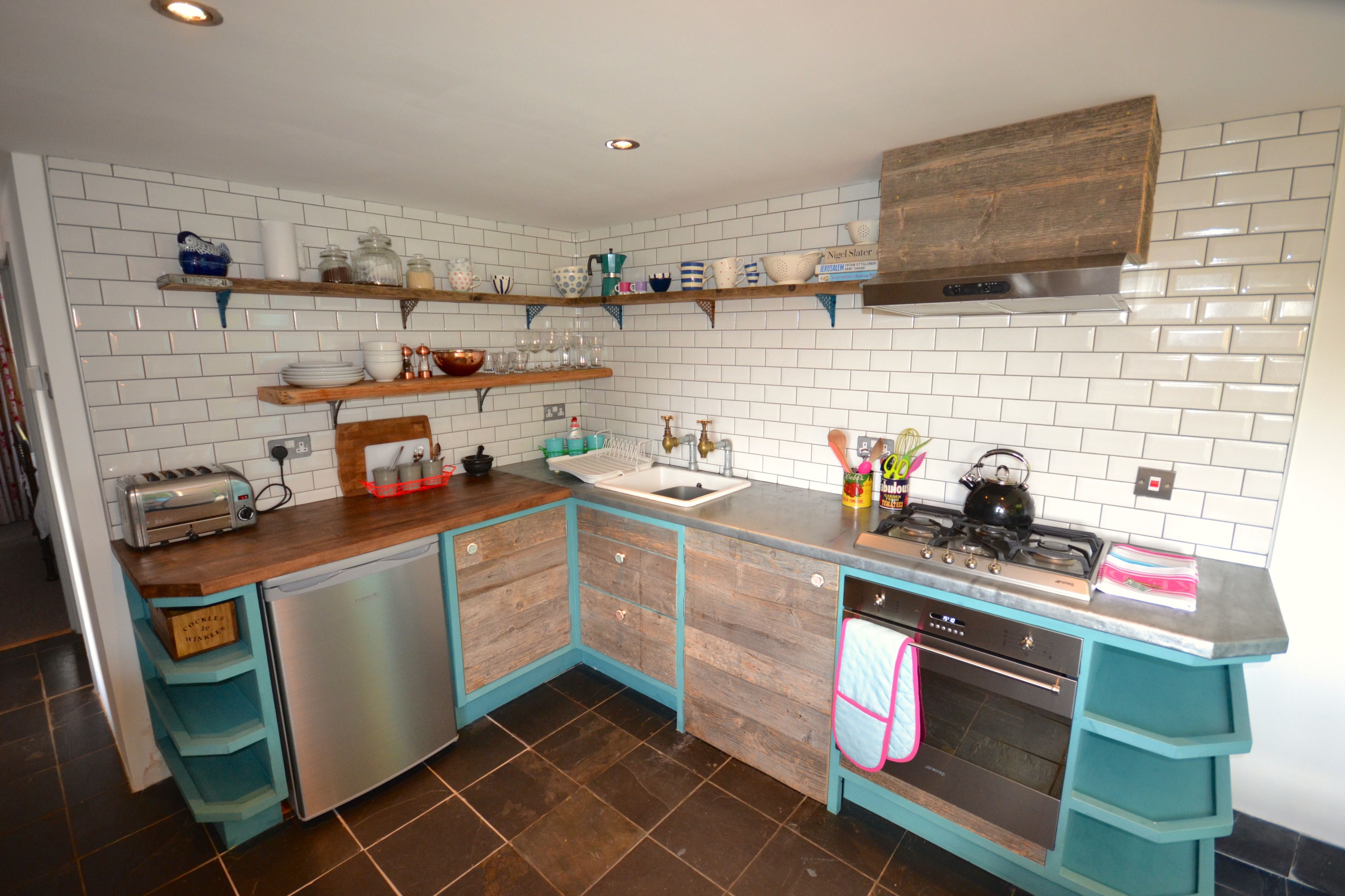 Bespoke cornwall kitchen with zinc worktops, reclaimed timber, Annie ...
