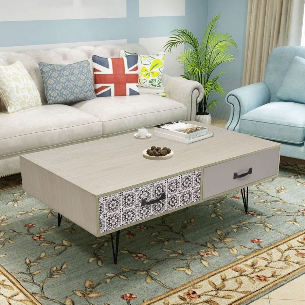 Vintage Retro Coffee Table Furniture 4 Drawers Storage Unit Metal pin legs Beige