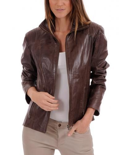 veste courte cuir femme marron la canadienne leather. Black Bedroom Furniture Sets. Home Design Ideas