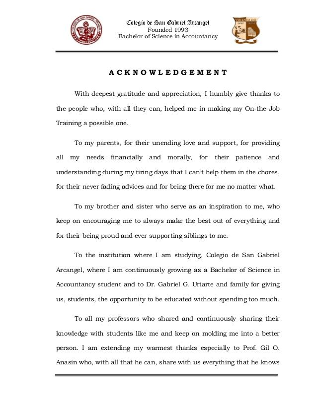Colegio de San Gabriel Arcangel Founded 1993 Bachelor of Science - acknowledgement report sample