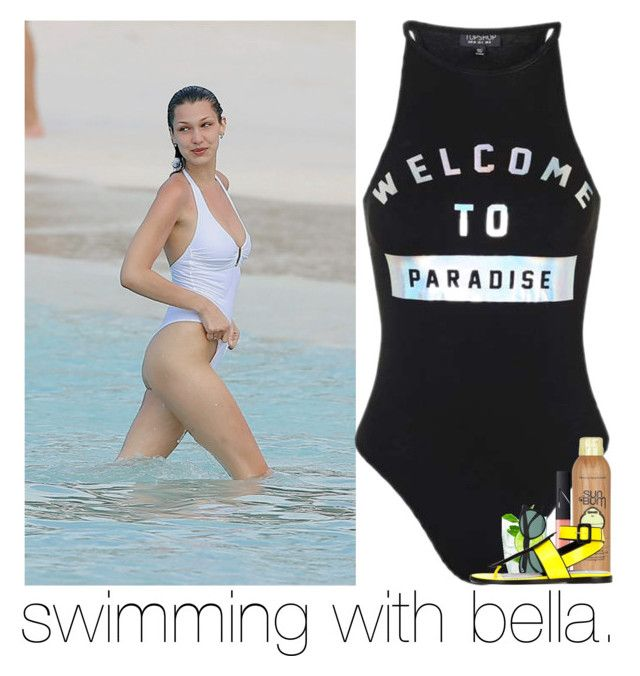 """""""swimming with bella."""" by sydneykhall ❤ liked on Polyvore featuring Ray-Ban, Sun Bum, NARS Cosmetics and Pierre Hardy"""