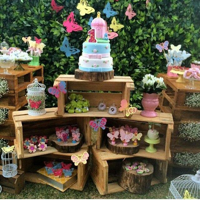 caixotes de madeira para festa infantil Pesquisa Google ideias para festas Pinterest  -> Decoração De Festa Infantil Jardim Encantado Rustico