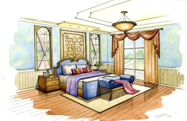 Watercolor Rendering By Wenyu Zhou Via Behance Interior Design
