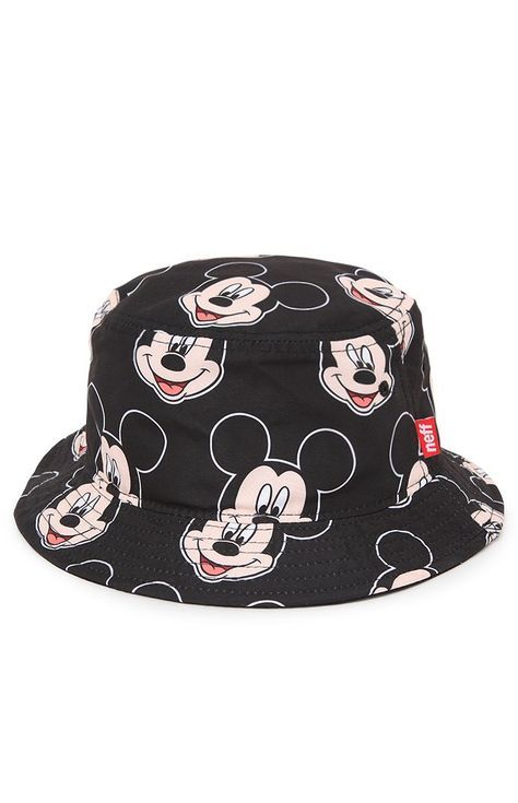 Neff teams up with Disney for this men s bucket hat found at PacSun. The  Big Mouse Bucket Hat has a black base and a multi color Mickey print  throughout ... e48b4967288