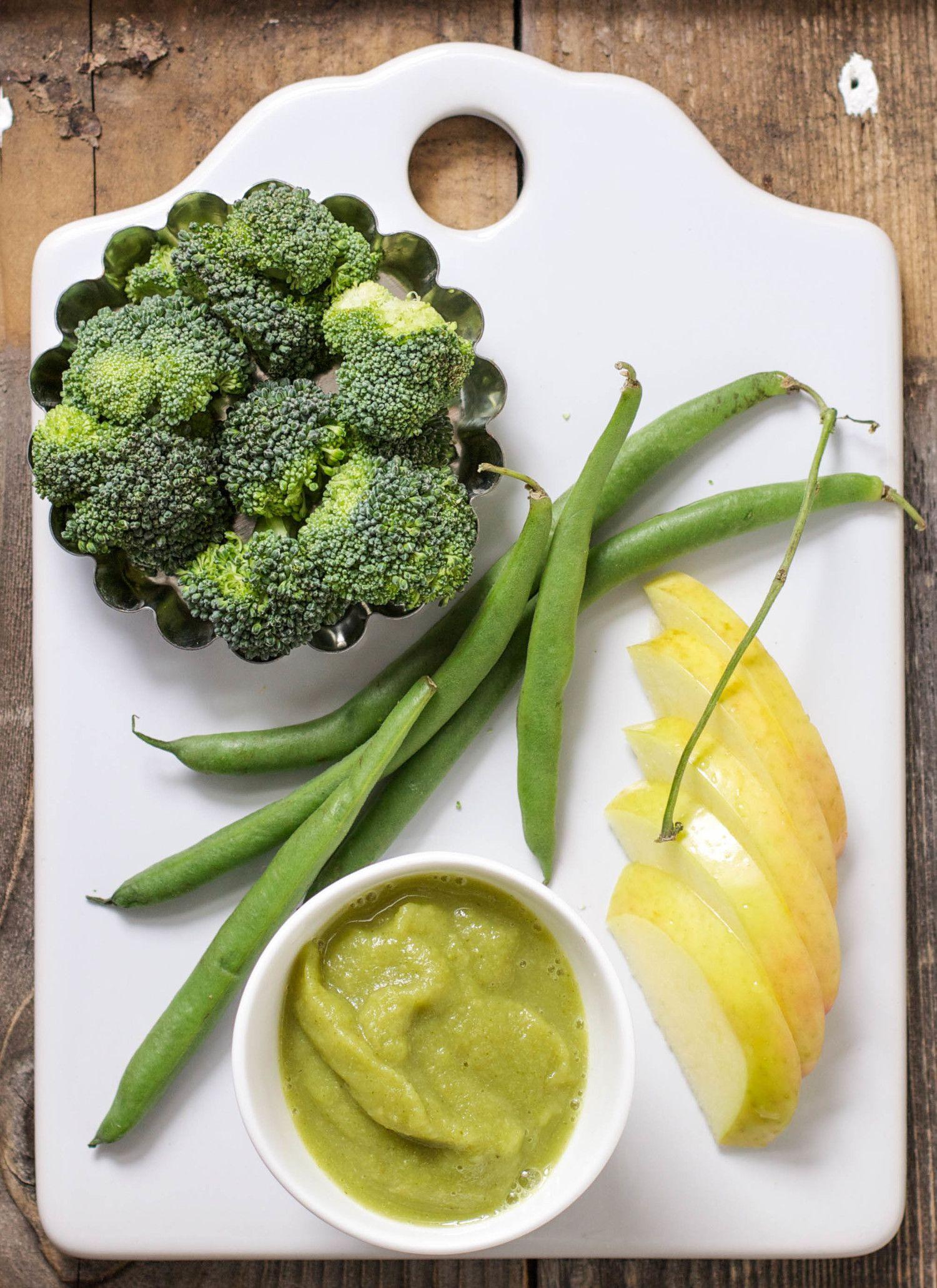 Apple Green Beans Broccoli Puree Baby Food Recipes Healthy Baby Food Baby Broccoli Recipe