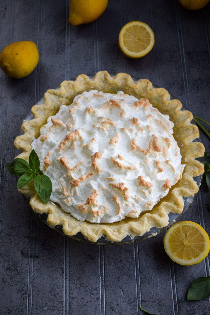 Basil Lemonade Meringue Pie #basillemonade