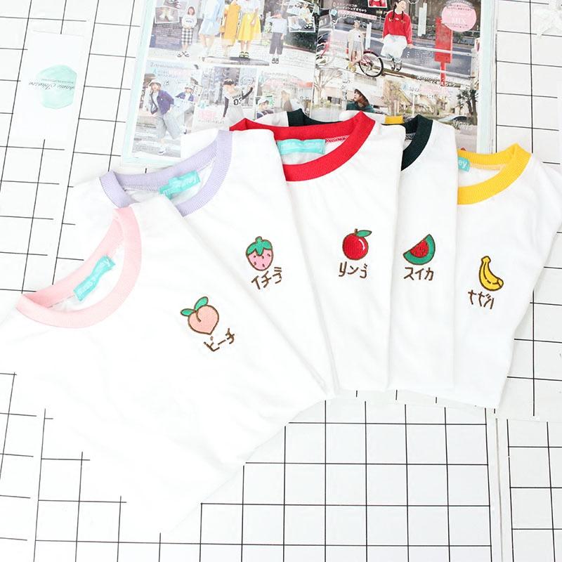 afa63d284 Katakana Fruit Embroidery Tees (4 designs) in 2019 | embroidery ...