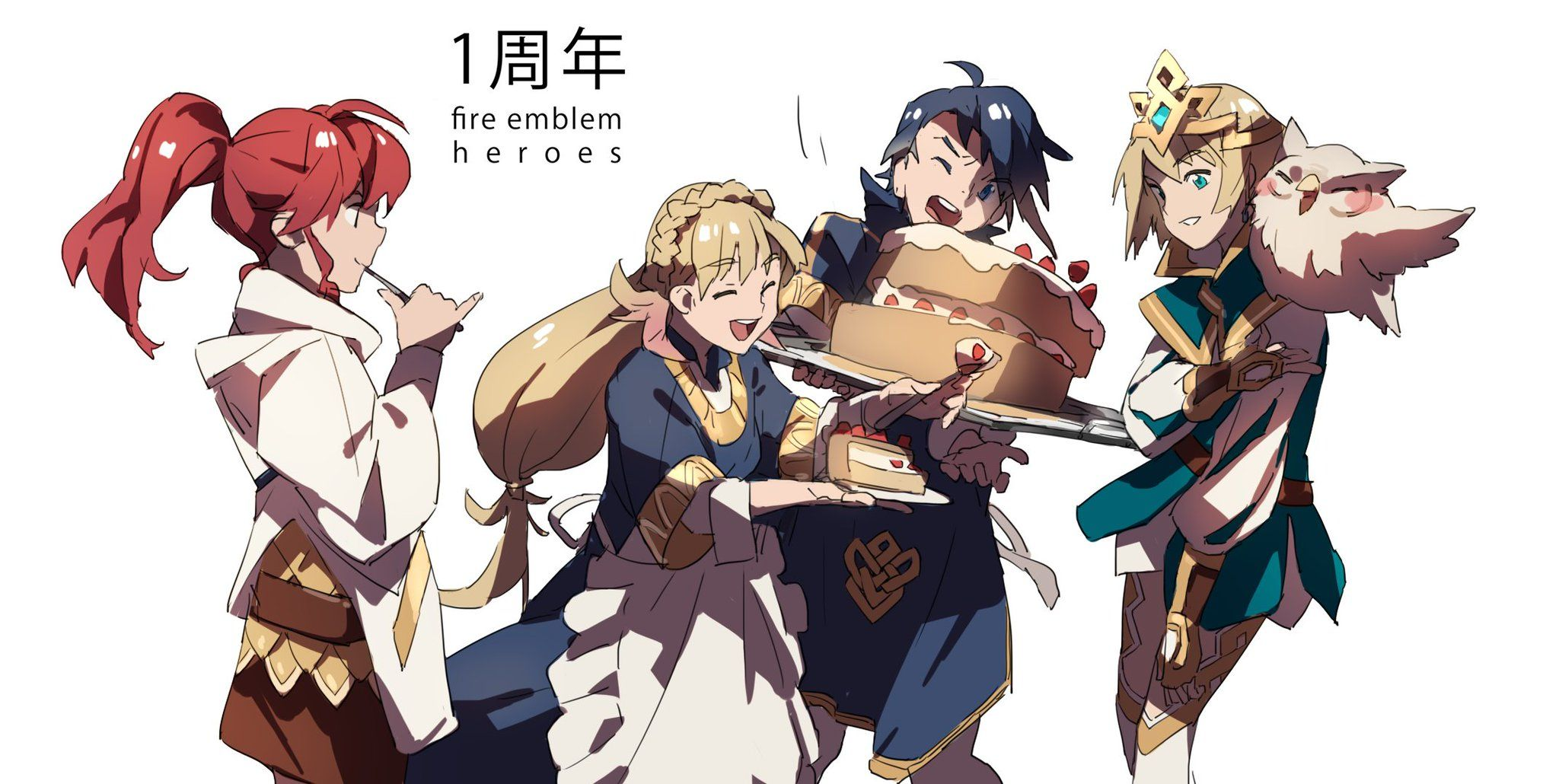 Anna, Alfonse, Sharena, Fjorm And Feh Sharing Cake