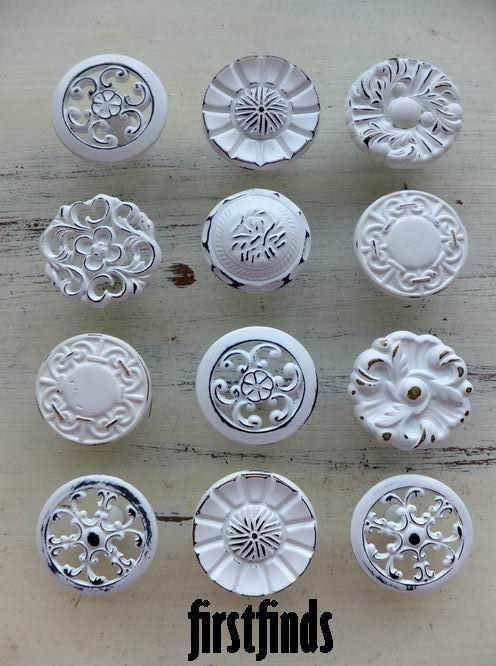 White Cabinet Knobs Shabby Chic White Drawer Pulls Kitchen