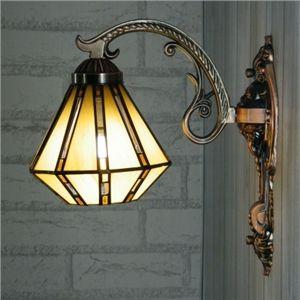 Antique Bronze Ornée Beige Vitrail Tiffany Applique Murale Lumière