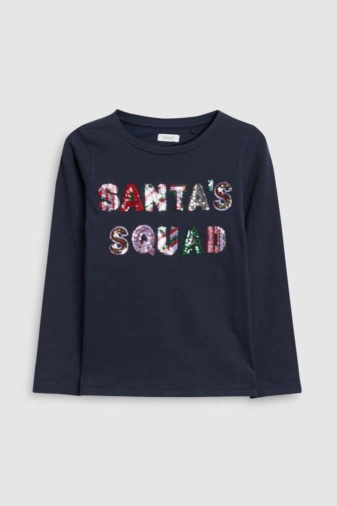 e6fbe1b822f9 Girls Next Navy Christmas Long Sleeve T-Shirt (3-16yrs) - Blue ...