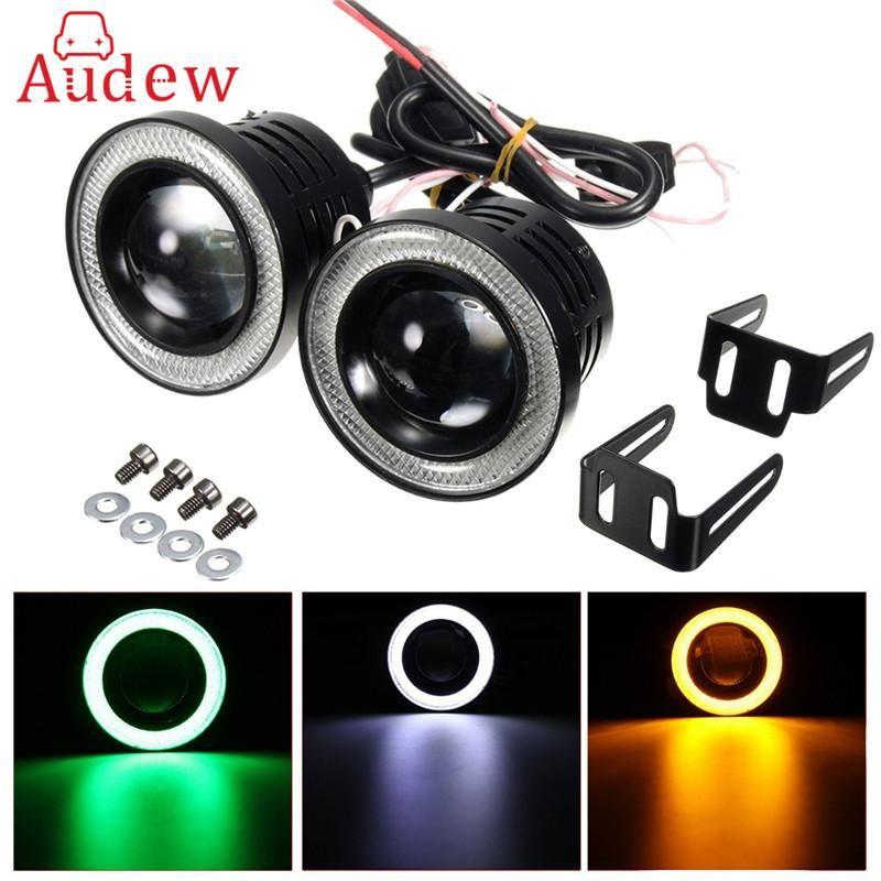 """2X 2.5/"""" Inch White Car Projector LED Fog Light COB Halo Angel Eye Ring Bulb"""