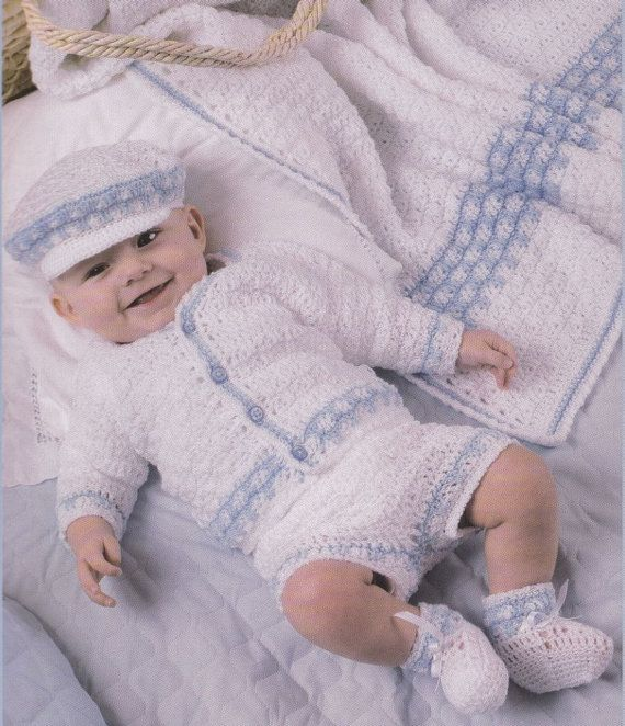 Baby Layette Crochet Patterns - 4 Sets Afghans Bootees Sweaters Hats ...