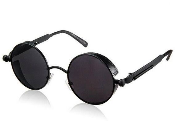 33abc40daa Lentes Gafas De Sol Redondos Steampunk Negros Redondos Uv | gafas ...