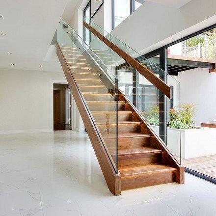 Best Prefab Steel Stair Stringers Glass Railing Wood Stair 640 x 480