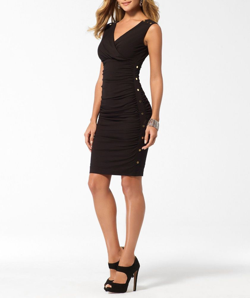 Cache black doublev ruched dress gown cocktail nwt size xs knee