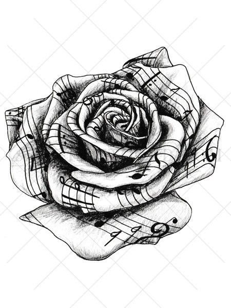 This Highly Detailed Black And White Temporary Tattoo Rose Appears To Be Crafted From Sheet Music Traditionally A Rose Tattoo Music Tattoos Neck Tattoo Tattoos