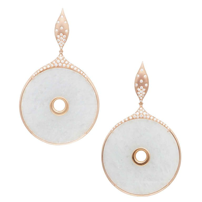 Donald Huber Icy White Jade Disc Rose Gold Earrings