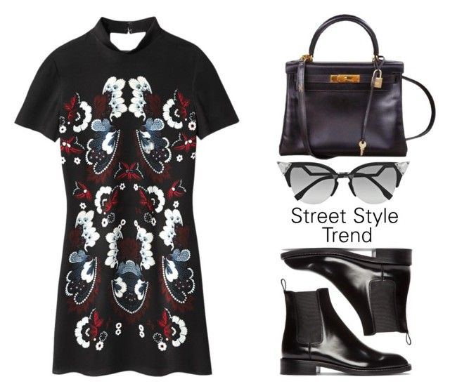 """""""#412"""" by missad3 ❤ liked on Polyvore featuring Hermès, Yves Saint Laurent, Fendi, minidress and polyvorecontest"""