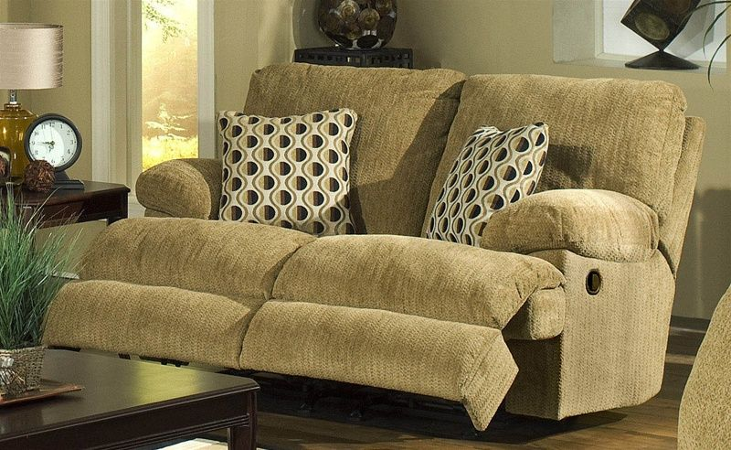 Newport Dual Rocking Reclining Love Seat in Pecan Chenille by