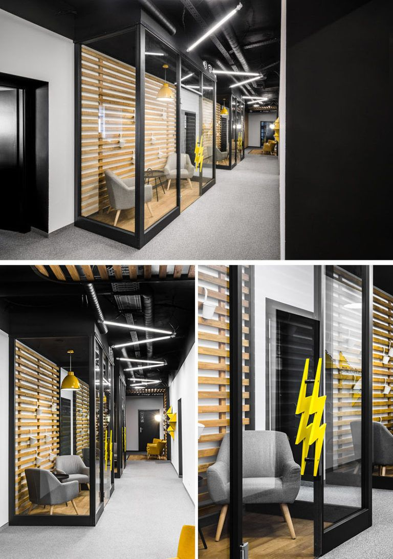 This New Office Interior Uses Wood And Black Frames To Clearly Define Spaces Small Room Design Office Interiors Meeting Room Design