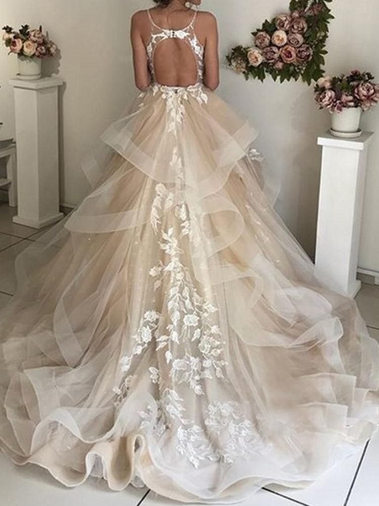 Onlybridals Evening Dresses Lebanon Tulle Appliques robe de soiree abiye Modest Evening Gowns Champagne Custom made abendkleider