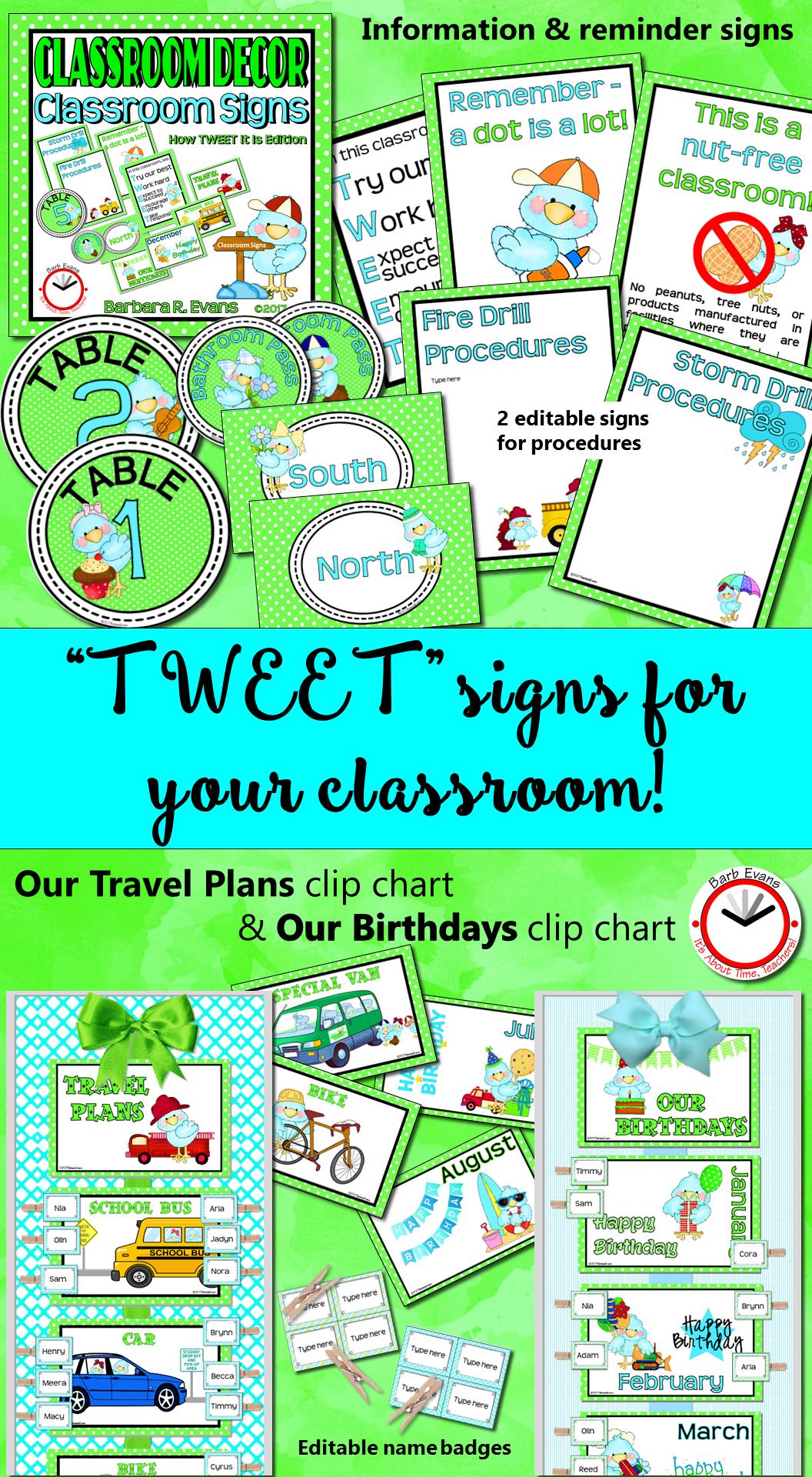 Classroom Signs Classroom Management Tweet Bird Theme