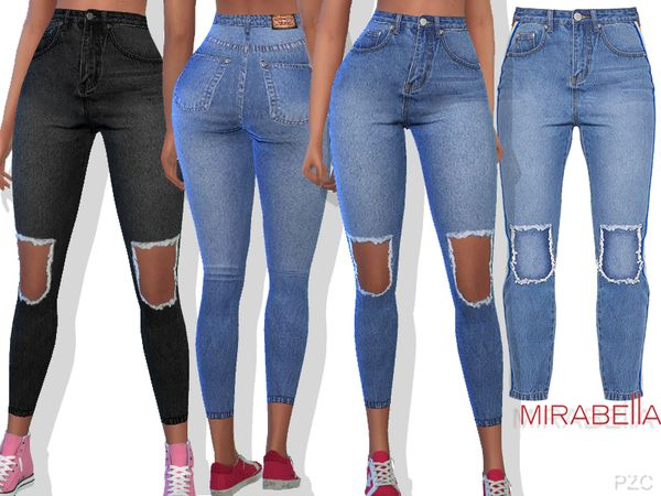 460f451248a The Sims Resource: Summer Ripped Denim Jeans Mirabella by  Pinkzombiecupcakes • Sims 4 Downloads