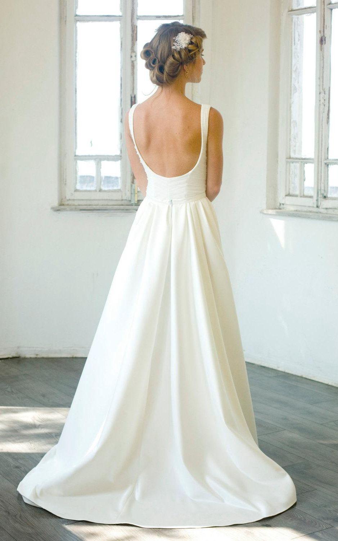 Elegant vneck sleeveless floorlength aline satin wedding dress
