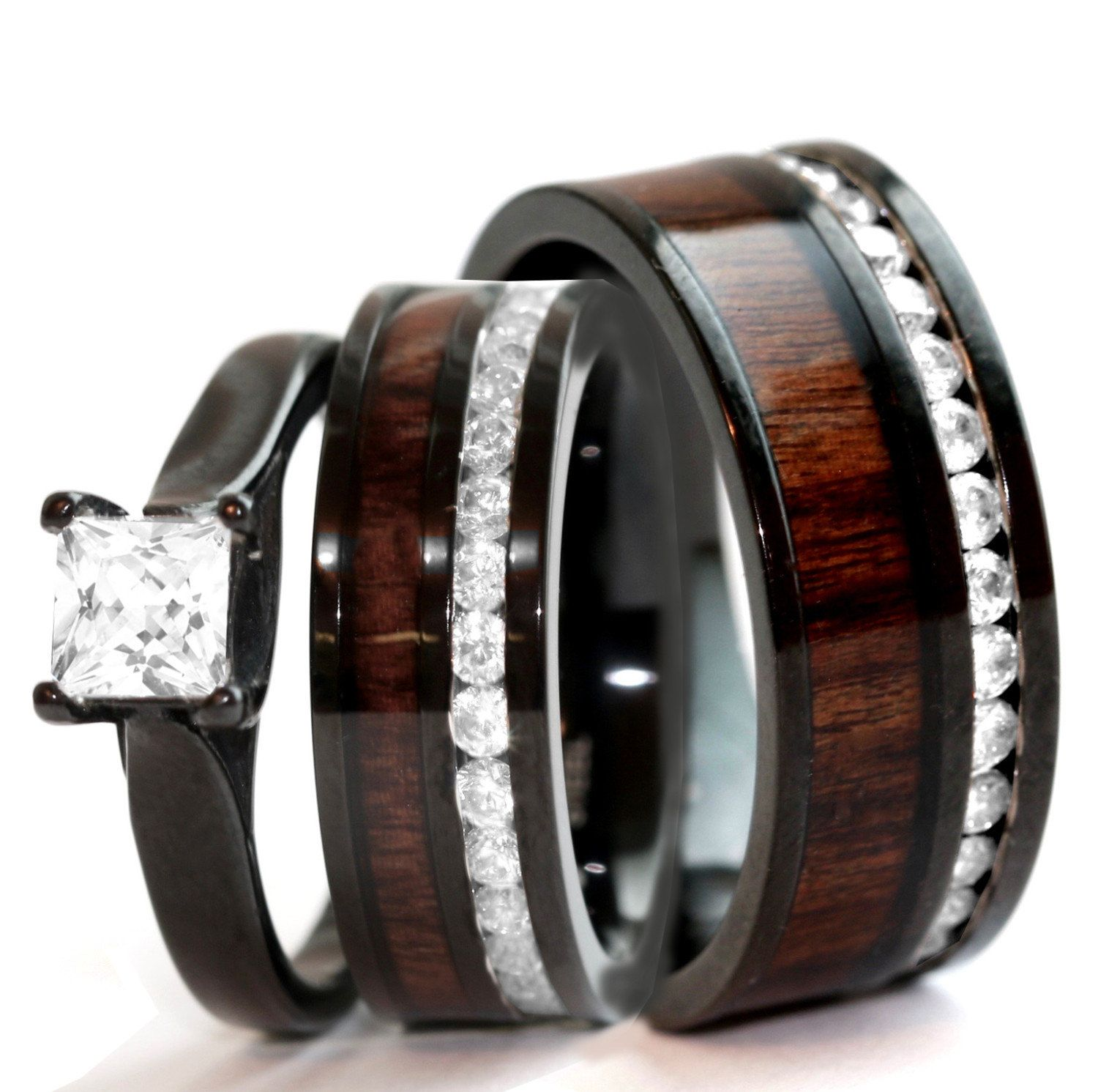 His & Hers Natural Koa Wood Ring Set Black Stainless Steel