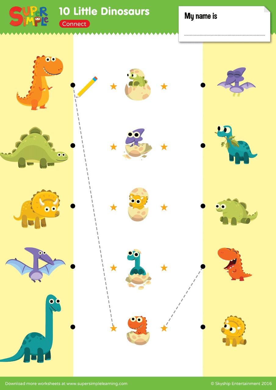 10 Little Dinosaurs Worksheet Connect Super Simple Dinosaur Worksheets Pre Writing Activities Dinosaur [ 1280 x 905 Pixel ]