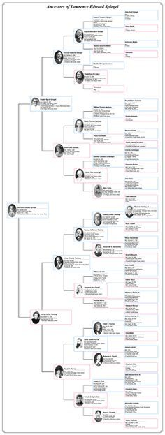 vertical pedigree chart, works for 5-6 generations genealogy - 3 gen family tree template