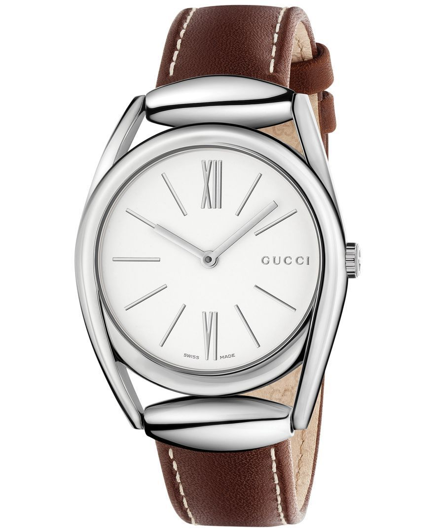 5e1e6b9f209 Gucci Women s Swiss Brown Leather Strap Watch 34mm YA140402 ...
