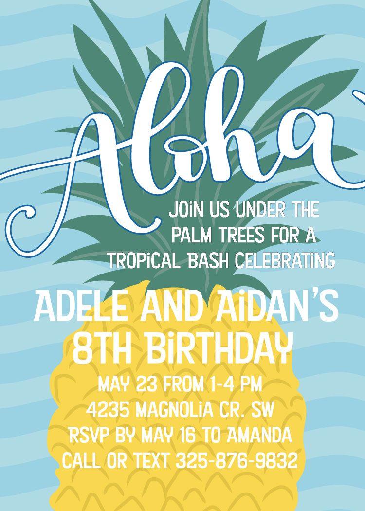 Printable Luau Birthday Invitations, Pineapple Luau Birthday ...