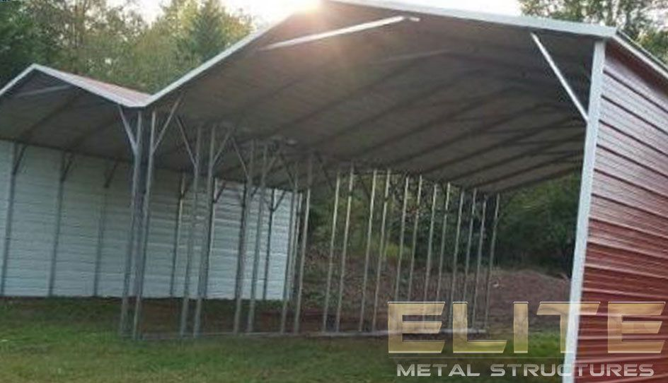 504 Red Double wide Aframe Carport Metal structure