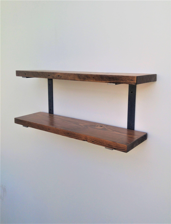 Double Wall Mounted Shelf Bracket Set 2pc Holds Two Etsy Diy Wood Shelves Wall Mounted Shelves Wall Hanging Shelves