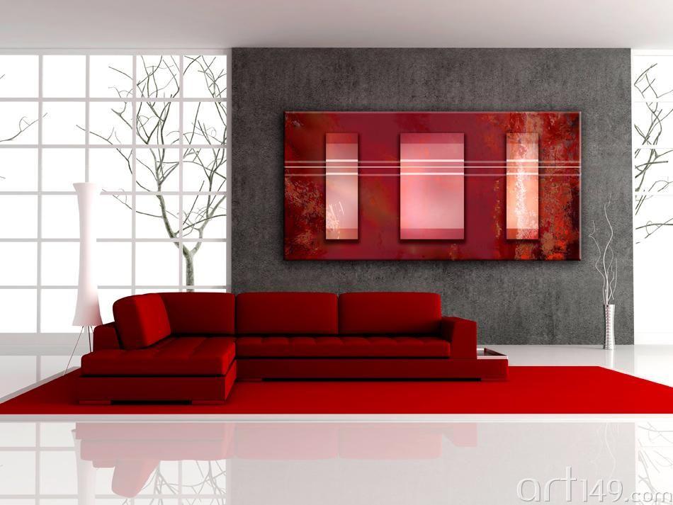 Zimmer in rot - rotes Wandbild für Wohnzimmer | Modern interiors ...