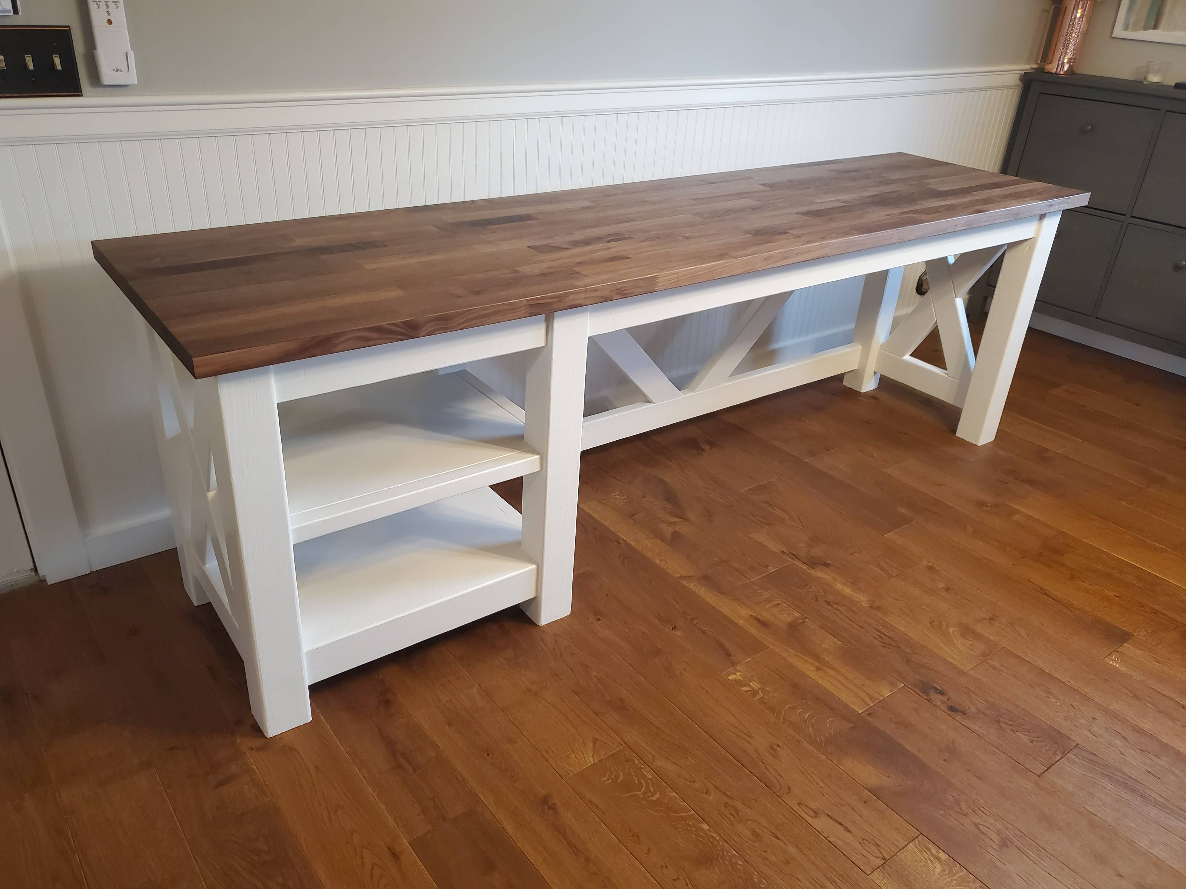 Built A Farmhouse Office Desk Using An Ikea Butcher Block Countertop Just In Time For Quarantin In 2020 Ikea Butcher Block Butcher Block Countertops Butcher Block Desk