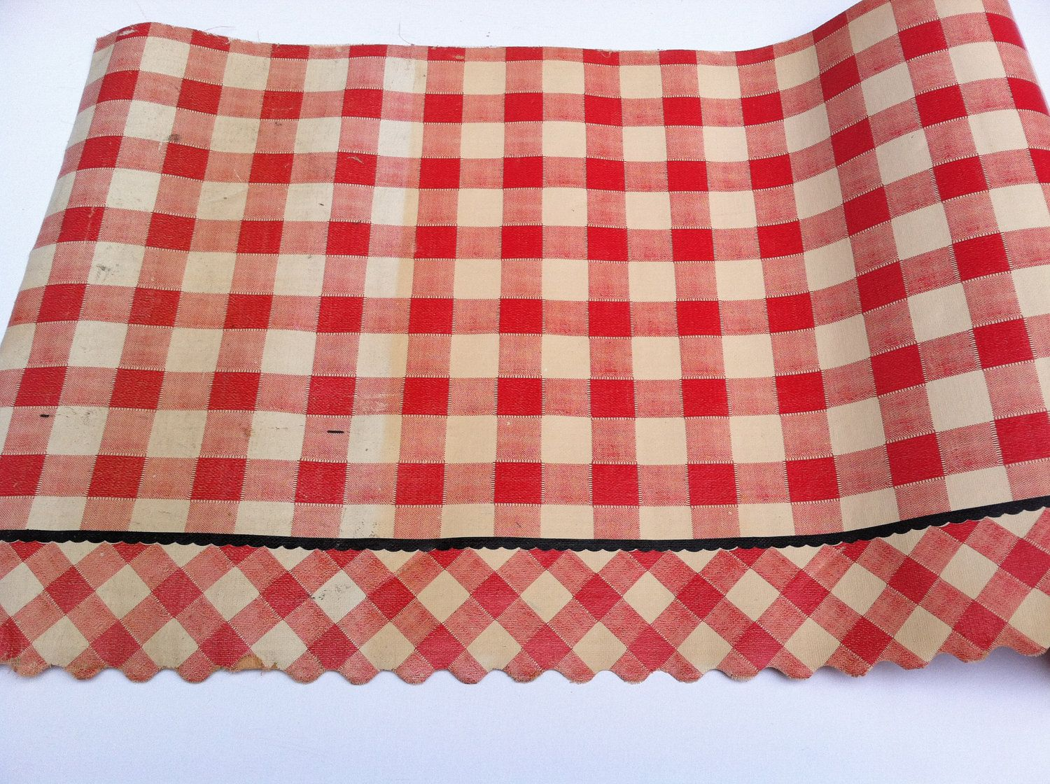 Vintage 1950 Red And White Checked Gingham Shelf Liner