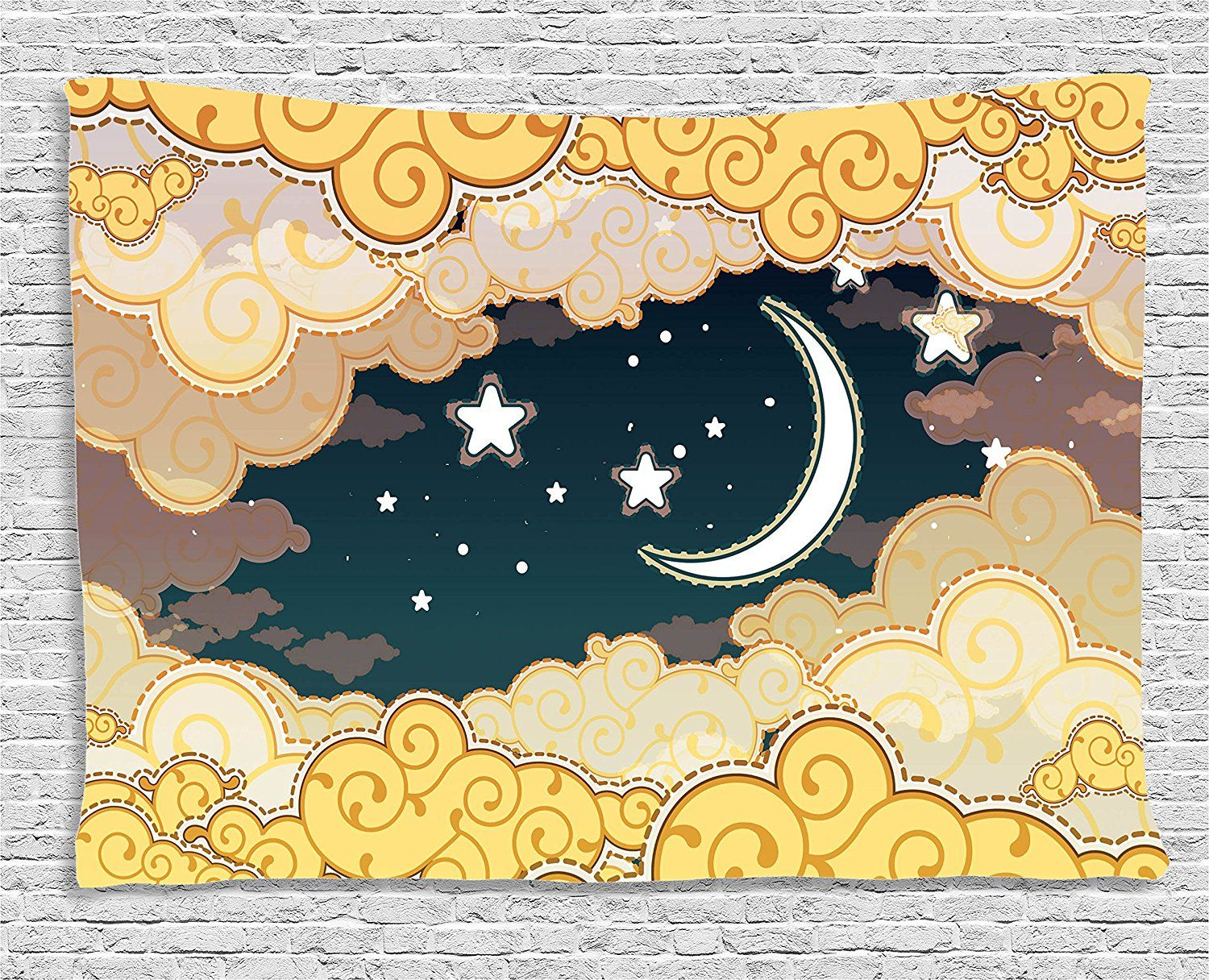 Ambesonne Fantasy House Decor Collection, Cartoon Style Night Sky ...