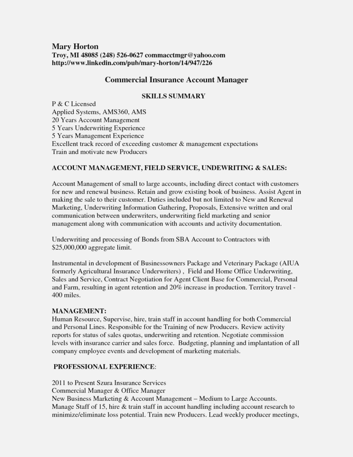 Free Commercial Insurance Underwriter Cover Letter Cover Letter