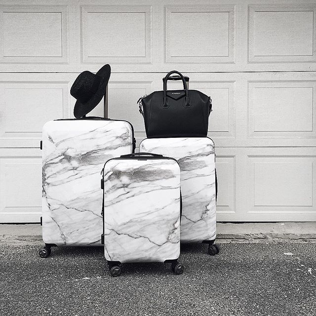 282c12939 I have loved traveling with my Astyll Milk Marble luggage set by @CalPak