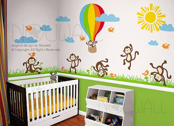 Wall decal wall sticker nursery decal monkey hot air for Stickers habitacion nina