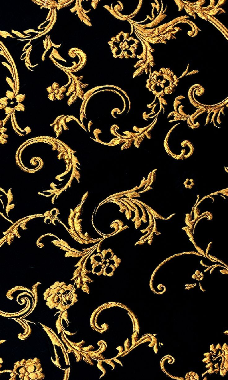 Ornate Gold Filigree Brocade on Black Silk Blend Silks