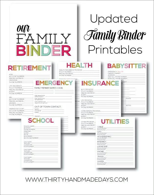 picture relating to Life Binder Printables called Family members Content Binder sheets aspects for little human beings