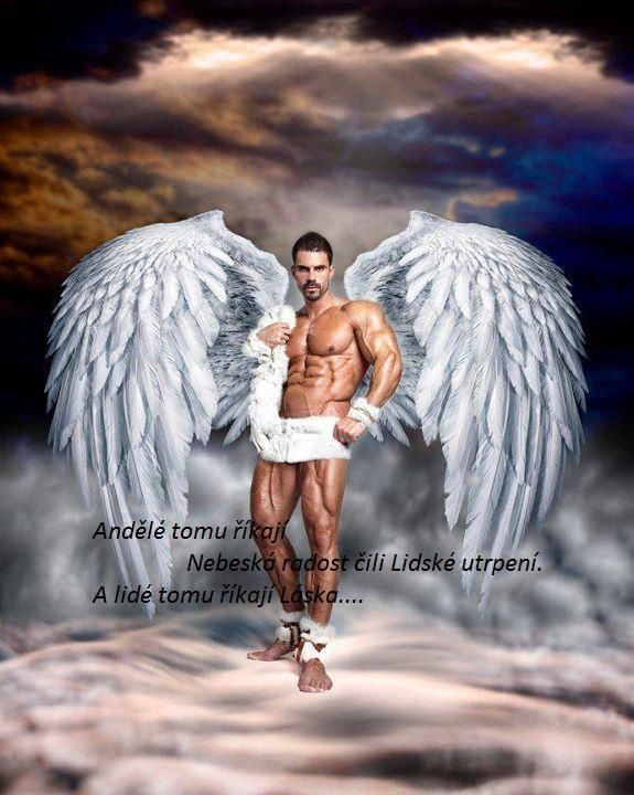 man with angel wings