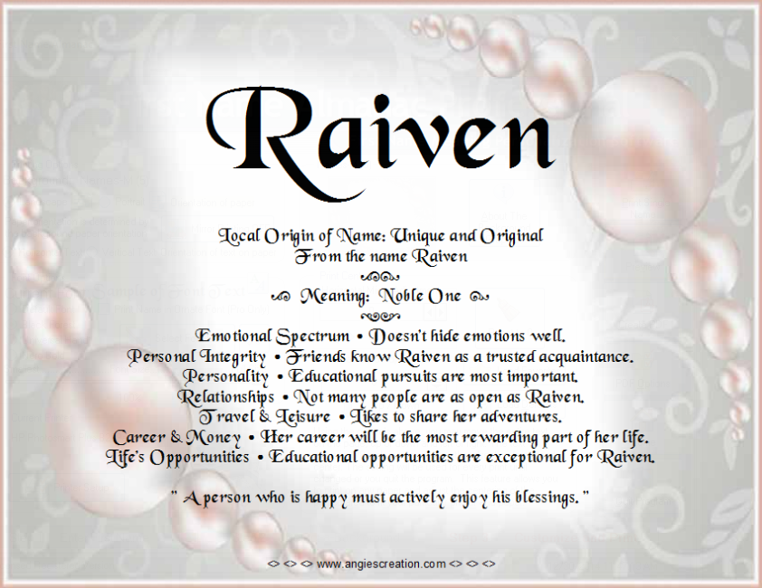 Raiven Name Meaning