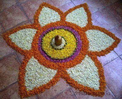 Flower Rangoli | Rangoli | Pinterest | Flower rangoli ...